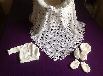 New White Hand Knitted Baby set & shawl/ Blanket: 36 Inches SQUARE