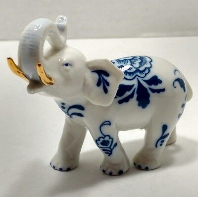 SPG Porcelain Delft Elephant Blue And White With Gold Tusks