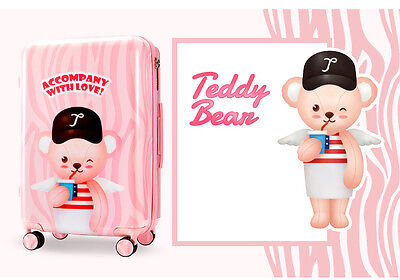 "24"" Pink Cartoon Bear Universal Wheel TSA Lock Travel Suitcase Luggage Trolley #"
