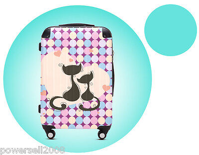 "28"" Cartoon Couples Cat Universal Wheel ABS+PC Pull Rod Box Luggage Box #12 LLX"