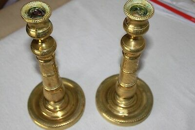 Pair of embossed bronze candleholders - 19th century - France