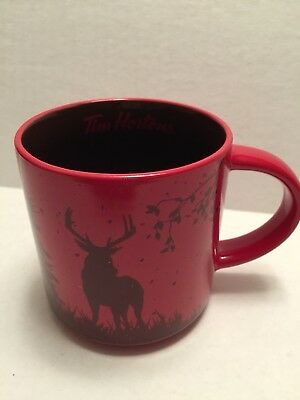 NEW Tim Hortons Limited Ed Red HOLIDAY Coffee Mug - DEER CARIBOU - Gift Box 2017