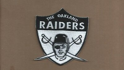 New 3 3/4 X 4 Inch Oakland Raiders Retro Iron On Patch Free Shipping
