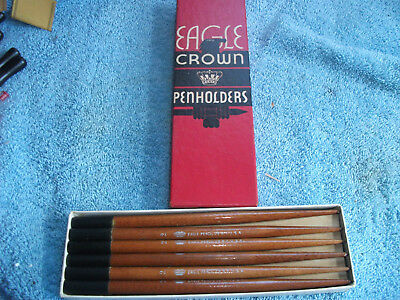 Full Box Of 12 Nos Eagle Crown Dip Pen Holders-Cica 1936