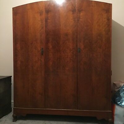 burr walnut deco style wardrobe three door plus mirror in side of door