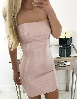 """Aliza"" Light Pink Nude Latex PU Leather Bodycon Mini Dress Sizes 6-14 Boutique"