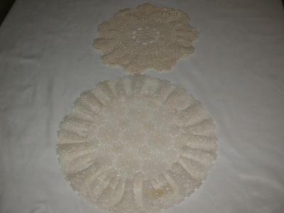 "Vintage Pair Of Round Crochet Doilies Off White/beige 10"" And 12"""