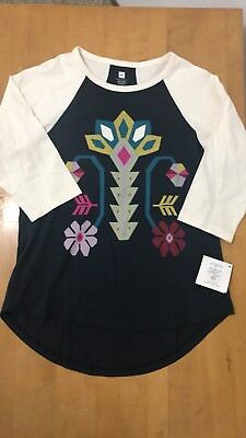 *NWT* Tea Collection Kid Girl Large (8-10) 3/4 Sleeve Graphic Top High low Hem