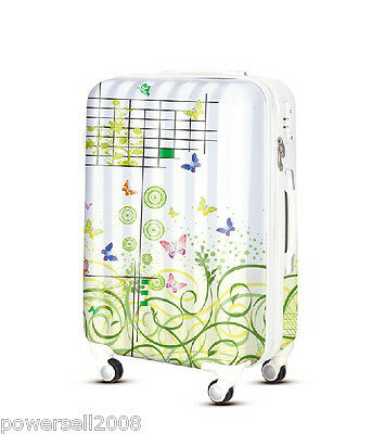 "28"" New TSA Lock Universal Wheel Green Art Print ABS+PC Travel Suitcase Luggage"