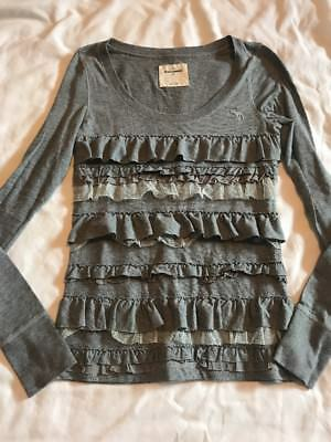 Abercrombie & Fitch kids girls youth large Gray Ruffle Long Sleeve top