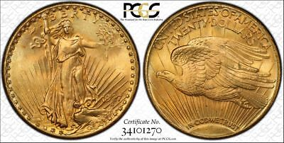 1927 $20 St Gaudens Gold Pcgs Ms 66  Saint Gaudens Double Eagle. Very Nice