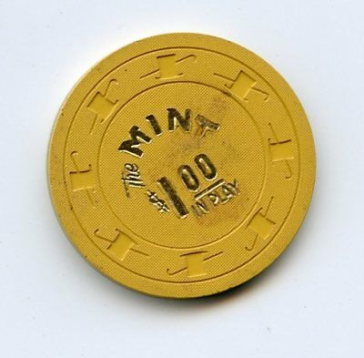 1.00 Chip from the Mint Casino Las Vegas Nevada Yellow