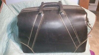 Vintage Antique Black Leather Doctors Bag ,Satchel, Luggage