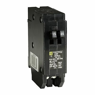Square D Homeline 15 Amp 20 Amp Standard Single-Pole Tandem Circuit Breaker NEW!