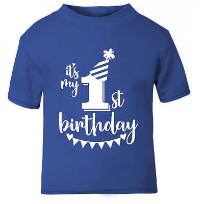Its My 1st First Birthday T Shirt In Blue Childrens Kids Boys Age