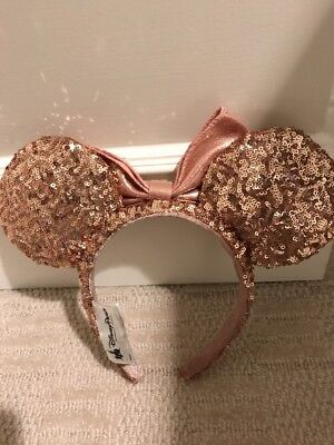 Disneyland Park Rose Gold Minnie Mouse Ears Hat Sequined Disney Headband