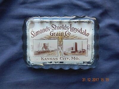 Antique Cruver Paperweight SIMONDS-SHIELDS- LONSDALE GRAIN CO. KANSAS CITY, MO.