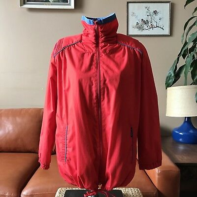 Vintage Milano Light Spring Jacket 80s Shoulder Pads Womens S Red Blue