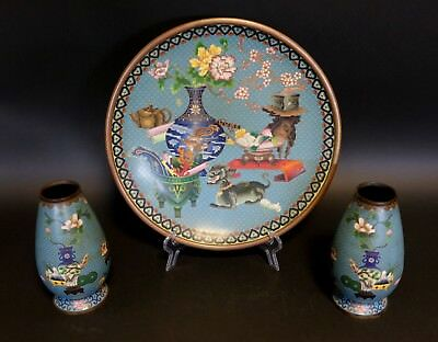 Antique Three Piece Group of Chinese Enameled Cloisonne, Charger and Vases