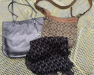 Lot MICHAEL KORS MK Logo SCARF AND PEWTER PURSE LOGO & VTG COACH PURSE