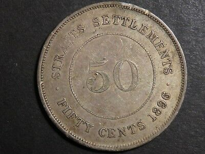 1896 Straits Settlement Half Dollar with VF/XF details