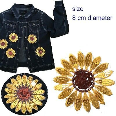 Sunflower sew on patch sequin sun flower head blossom glitter embroidery patches