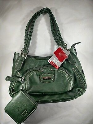 Rosetti Bottle Green Purse Hailey Double Handle With Bonus Wallet