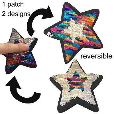Sequin Star iron on patch reversible design rainbow silver stars iron-on patches
