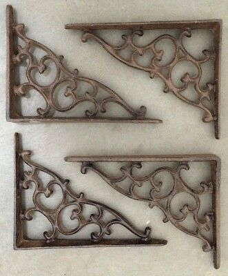 SET OF 4 ORNAMENTAL SHELF BRACKET/BRACE, Antique Brown patina cast iron
