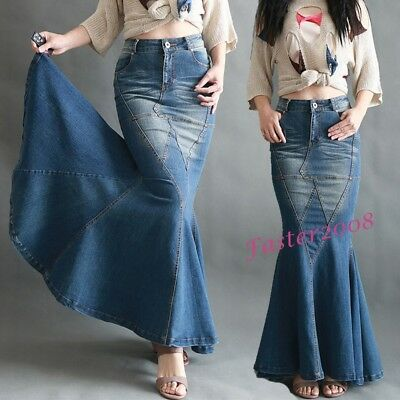 1f86a8ee3c Elegant Fashion Women s Denim Flare Skirts Slim Mermaid Long Jean Skirts  Dress