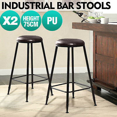 2x Vintage Industry Rustic Bar Stool Home Kitchen Pub Round PU Seat 75cm High