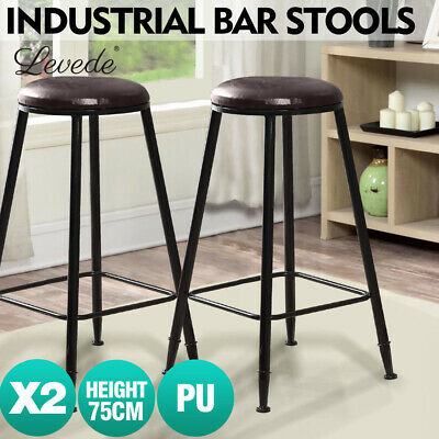 2 Pcs Vintage Industrial Rustic Bar Stool Home Kitchen Round PU Seat 75 cm High