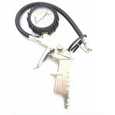 0-220 Psi Air Tire Pressure Inflator with Gauge Dual Chuck Hose For Car Truck US