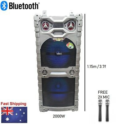 """2000W Portable Rechargeable Bluetooth PA Speaker DJ 15"""" Subwoofer"""