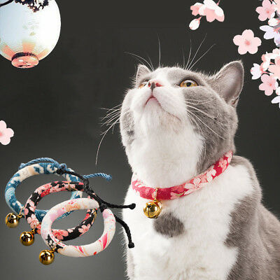 Japanese Style Cute Cat Collar Cat Bell Pet Collar Adjustable Pet Supply XS-L