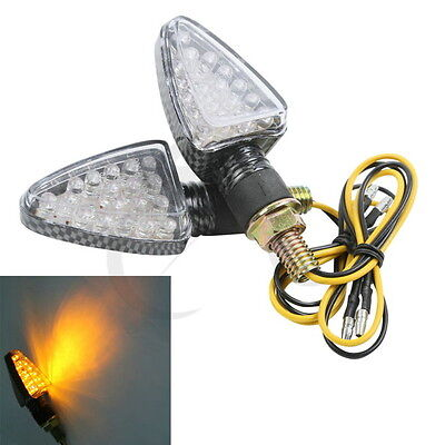 Motorcycle A Set Amber 18-LED Carbon Fiber ABS Turn Signal Indicators Universal