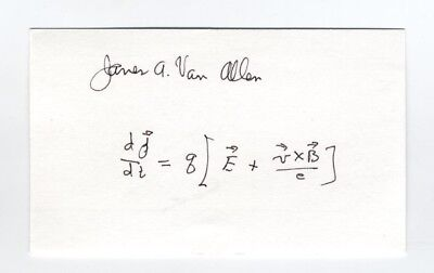 RARE Dr. James Van Allen signed handwritten science formula - Radiation Belts