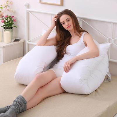 Extra Fill 9 Ft Comfort U Pillow Body Back Support Nursing Maternity Pregnancy