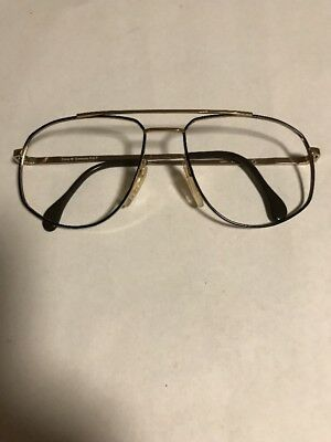 Vintage New West German Zeiss Eyeglass Frames Black & Gold 80's Style