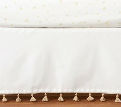 $99 New pottery barn kids Emily & Meritt Tassel Crib Skirt new original gold