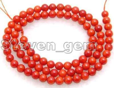 """SALE Tiny 3-4mm high quality 100% round Red nature Coral strand 16""""-los206"""