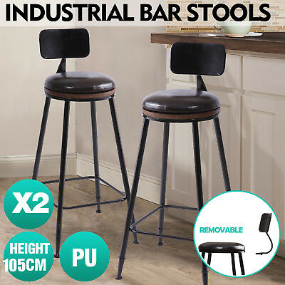 2x Vintage Industry Rustic Bar Stool Home Kitchen Pub Round PU Seat High Back