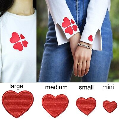 Heart iron on patches in all sizes love hearts symbol iron-on transfer patches