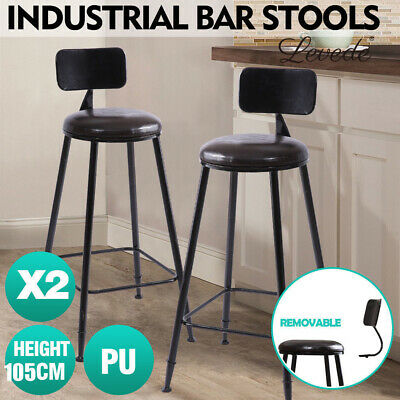 2 Pcs Vintage Industrial Rustic Bar Stool Home Kitchen Round PU Seat High Back
