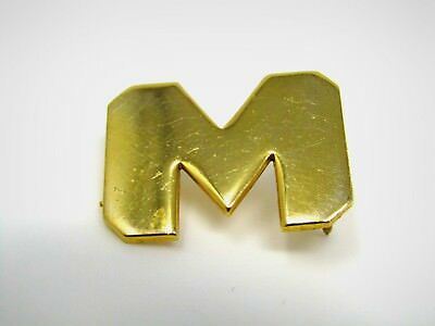 Vintage Collectible Pin: Larger Letter M Gold Tone Double Post Design