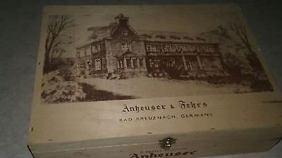 Wooden Wine Box Advertising ANHEUSER & FEHRS Bad Kreuznach, GERMANY ☆ EXCELLENT