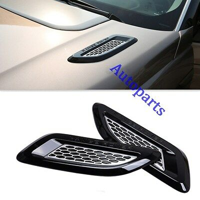 Black+silver Dummy Hood Vent Slat air wing trim For range rover EVOQUE 2011-UP