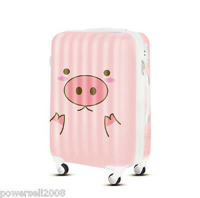 "24"" TSA Lock Universal Wheel Pink Pig Expression ABS+PC Travel Suitcase Luggage"
