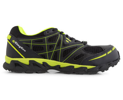 KINGGEE MENS NICHOLLS SAFETY SHOE - BLACK and LIME UK 9