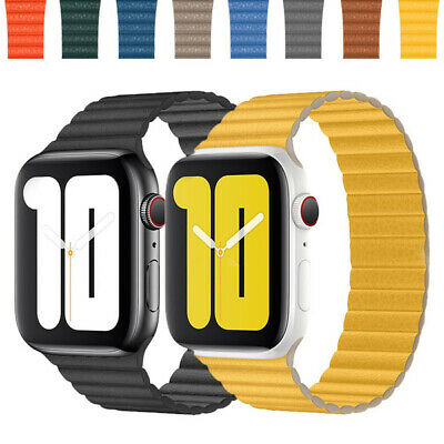 Genuine Magnetic Leather Loop Strap Watch Band for Apple Watch Series 4/3/2/1